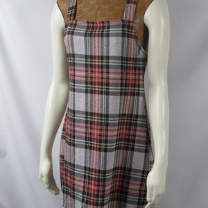Free People Taylor Check Mini Dress Red Combo SM